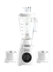 Black+Decker Blender, 400W, with Grinder and Grater Mill, BL410-B5, White