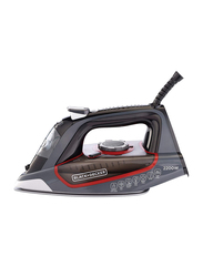 Black+Decker Steam Iron with Ceramic Soleplate, 2200W, X2050-B5, Grey/Red