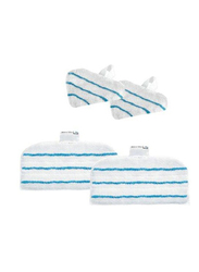 Black and Decker 4-Pieces Standard and Delta Replacement Microfibre Steam Mop Pads Set, FSMP30D-XJ, White/Blue