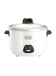 Black+Decker 1.8L Non-Stick Rice Cooker, with Glass Led, 700W, RC1850-B5, White