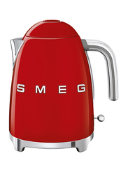Smeg 50's Retro Style Aesthetic 1.7L Electric Stainless Steel Kettle, 3000W, Red