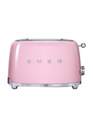 Smeg 50's Retro Style Aesthetic 2 Slice Toaster, 950W, Pink