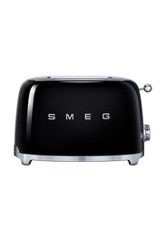 Smeg 50's Retro Style Aesthetic 2 Slice Toaster, 950W, Black