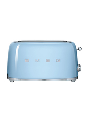 Smeg 50's Retro Style Aesthetic 4 Slice Toaster, 1500W, Pastel Blue