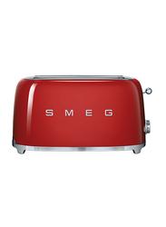 Smeg 50's Retro Style Aesthetic 4 Slice Toaster, 1500W, Red