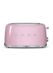 Smeg 50's Retro Style Aesthetic 4 Slice Toaster, 1500W, Pink