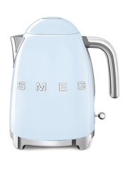 Smeg 50's Retro Style Aesthetic 1.7L Electric Stainless Steel Kettle, 3000W, Pastel Blue