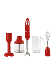Smeg 50's Retro Style Aesthetic Hand Blender with Accessories, 70W, Red