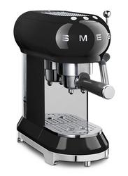 Smeg 50's Retro style Aesthetic Espresso Coffee Machine, 1350W, Black