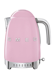 Smeg 50's Retro Style Aesthetic 1.7L Electric Stainless Steel Variable Temperature Kettle, 3000W, Pink