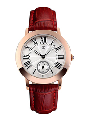 JC Analog Unisex Watch with Leather Band, 1085, Brown-White