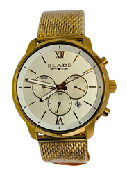 Blade Analog Watch for Men with Stainless Steel Band, Chronograph, 20-3489, Gold-White