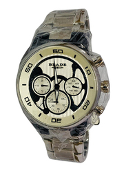 Blade Analog Watch for Men with Stainless Steel Band, Chronograph, 30-3404G, Silver-Off White