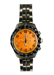 Blade Analog Watch for Men with Stainless Steel Band, Chronograph, 10-3290G, Silver-Orange