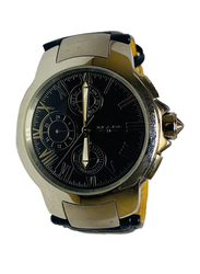 Blade Analog Watch for Men with Leather Band, Chronograph, 10-3393G, Black