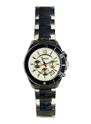 Cruiser Analog Watch for Men with Stainless Steel Band, Chronograph, C1205G, Silver-White