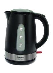 Sharp 1.5L Electric Plastic/Stainless Steel Kettle, 2200W, EK-J156-3, Black