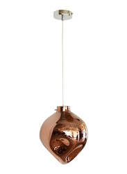 Salhiya Lighting Evelyn Indoor Glass Ceiling Pendant Light, E27 Bulb Type, D1831, Chrome/Rose Gold