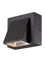 Salhiya Lighting Indoor/Outdoor Surface Down Wall Light, LED Bulb Type, 3W, IP54, Clear Glass, H2473, 3000K-Black