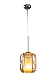 Salhiya Lighting Teena Indoor Glass Ceiling Pendant Light, E27 Bulb Type, D1807AM, Chrome/Amber