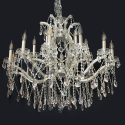 Salhiya Lighting Candle Crystal Chandelier, E14 Bulb Type, 18 Arms, WT3052L10, Silver