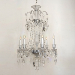 Salhiya Lighting Crystal Glass Chandelier, E14 Bulb Type, 6 Arms, MD9836, Silver