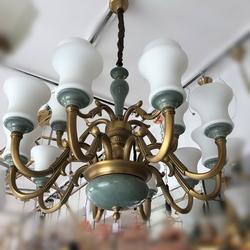 Salhiya Lighting Uplight Chandelier, E27 Bulb Type, 10+5 Arms, H8616, Brass