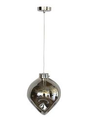 Salhiya Lighting Evelyn Indoor Glass Ceiling Pendant Light, E27 Bulb Type, D183SK, Chrome/Smoky