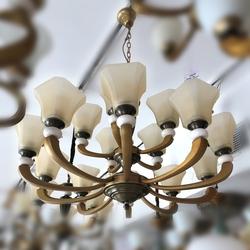 Salhiya Lighting Uplight Chandelier, E27 Bulb Type, 10+5 Arms, H8587, Brass