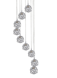 Salhiya Lighting Modern Stylish Staircase Pendant Light, G9 Bulb Type, D68 G9x9, D140513, Chrome