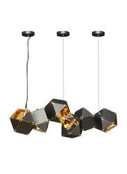 Salhiya Lighting Modern Glass Ceiling Pendant Light, E14 Bulb Type, 6 Bulbs, D170327, Black/Gold