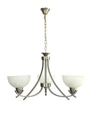 Salhiya Lighting Uplight Chandelier, E27 Bulb Type, 3 Arms, D605, Satin Nickel