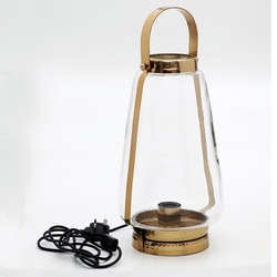 Salhiya Lighting Handmade Stainless Steel Lanterns, E27 Bulb Type, Large, Hurricane Bottom and Handle Hammered, 149472, Gold