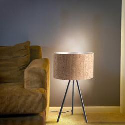 Salhiya Lighting Modern Sleek Tripod Lauraine Table Lamp, Matte Black/Cork