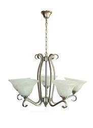 Salhiya Lighting Uplight Chandelier, E27 Bulb Type, 5 Arms, D604, Satin Nickel