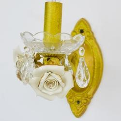 Salhiya Lighting Indoor Flower Candle Wall Light, E14 Bulb Type, 1 Arm, W0895, Gold