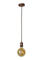 Salhiya Lighting Veronica Suspension Indoor Metal Hanging Pendant Light, E27 Bulb Type, Glass, Retro Style, Rose Gold