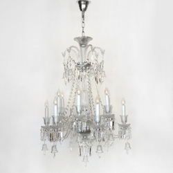 Salhiya Lighting Candle Crystal Chandelier, E14 Bulb Type, 12 Arms, MD9836, Silver