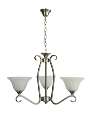Salhiya Lighting Uplight Chandelier, E27 Bulb Type, 3 Arms, D604, Satin Nickel