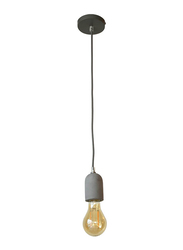 Salhiya Lighting Veronica Suspension Indoor Ceramic Hanging Pendant Light, E27 Bulb Type, Braided Cable, Retro Style, 72/19, Dark Grey