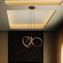 Salhiya Lighting Modern Torsion LED 3 Pendant Lights, 3A, MD1904A, Gold