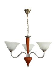 Salhiya Lighting Uplight Chandelier, E27 Bulb Type, 3 Wooden Arms, 7016, Satin Nickel