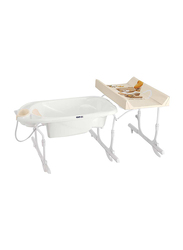 Cam Removable Idro Baby Bath Tub and Changing Table for Kids, White/Brown