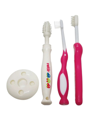 Farlin 4-Pieces Three Stages Toothbrush for Babies, Pink/White