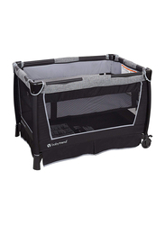Baby Trend Retreat Twins Nursery Center Play Yard with Bassinet, Quarry, Black/Grey