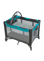Graco Pack N Play On The Go Play Yard Travel Cot, Finch, Black/Blue