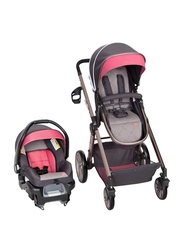 Baby Trend GoLite Snap Gear Sprout Travel System Baby Girls Stroller, Stardust Rose, Pink/Black