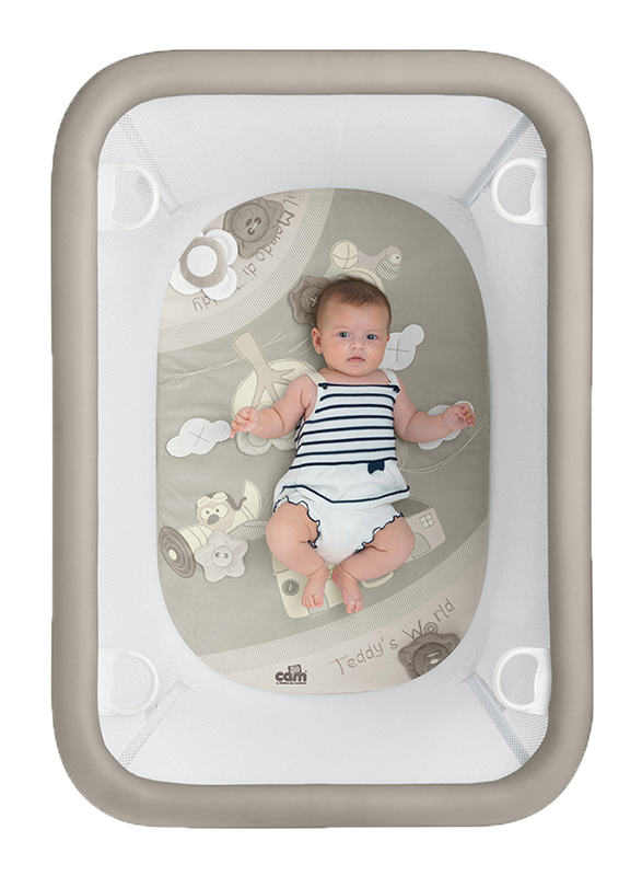 Cam Lusso Box Playpen with Playing Carpet, Teddy's World, Brown