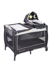 Baby Trend Lil Snooze Deluxe II Nursery Center Play Yard with Bassinet, Twinkle Twinkle Little Moon, White/Black