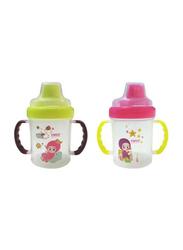 Farlin Non-Spill Spout Magic Cup Set, 2-Pieces, Green/Pink